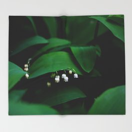Lily Of the Valley With Large Green Leaves Throw Blanket