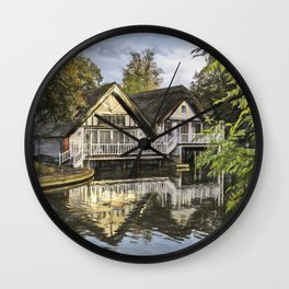 Picturesque Thames Boathouses At Goring Wall Clock
