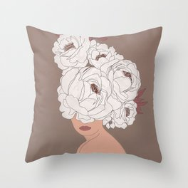 Woman with Peonies Throw Pillow