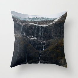 Icy Mountain Waterfall Landscape Throw Pillow
