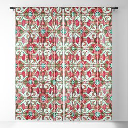 Seamless Pattern Ornamental Tile Design :  10 red Blackout Curtain