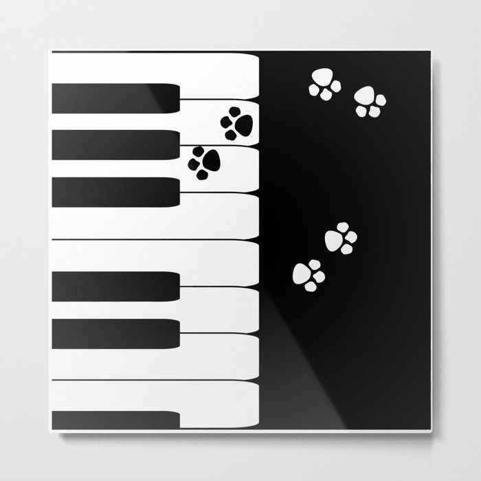 The keys of the piano . Creative black and white pattern . Metal Print