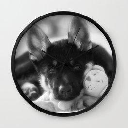Black white portrait of a shepherd puppy. Wall Clock