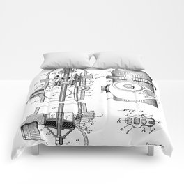 Fire Fighter Patent - Fire Hydrant Art - Black And White Comforters