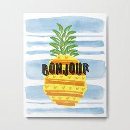 Bonjour Pineapple Metal Print