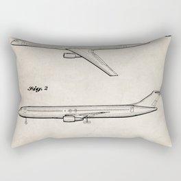 Boeing 777 Airliner Patent - 777 Airplane Art - Antique Rectangular Pillow