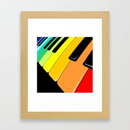 Piano Keyboard Rainbow Colors  Framed Art Print