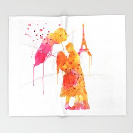 Watercolor Love Couple in Paris Throw Blanket