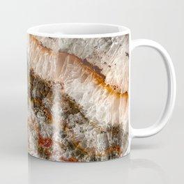 Agate Crystal V // Red Gray Black Yellow Orange Marbled Diamond Luxury Gemstone Coffee Mug