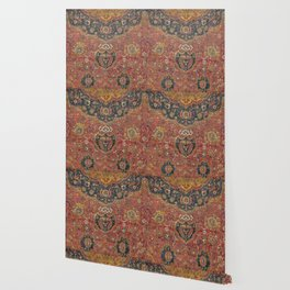 Persian Medallion Rug I // 16th Century Distressed Red Green Blue Flowery Colorful Ornate Pattern Wallpaper