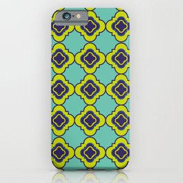 Quatrefoil - mint and blue iPhone Case