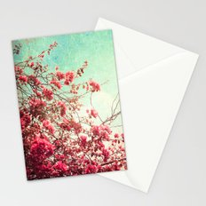 Pink Flowers on a Textured Blue Sky (Vintage Flower Photography) Stationery Cards