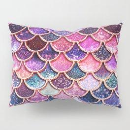 Pink & Purple Trendy Glitter Mermaid Scales Pillow Sham