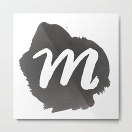 """""""M"""" Monogram, Watercolor Design Metal Print"""