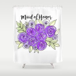 Maid Of Honor Wedding Bridal Purple Violet Lavender Roses Watercolor Shower Curtain