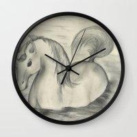 sea horse Wall Clocks featuring Sea Horse by Alexandra Sutherland