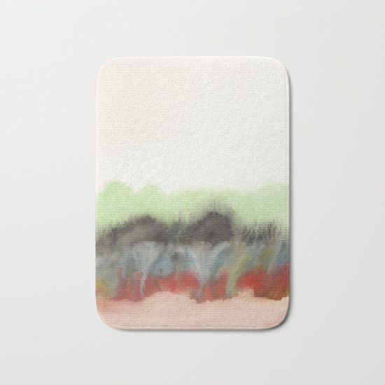 Watercolor abstract landscape 12 Bath Mat