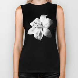 White Lily Black Background Biker Tank