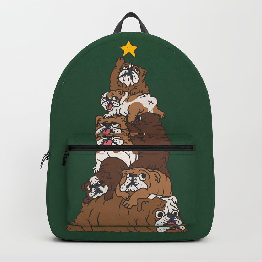 Christmas Tree English Bulldog Backpack by Huebucket