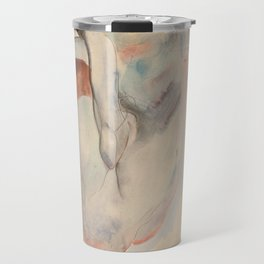 Crouching Nude in Shoes and Black Stockings, Back View - Egon Schiele Travel Mug