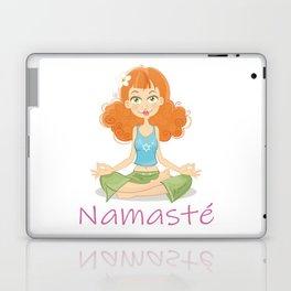 Smiling Girl practising Yoga Lotus Pose Laptop & iPad Skin