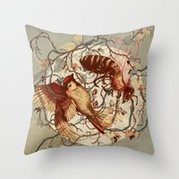 wings Throw Pillows featuring Honey & Sorrow (grey) by Teagan White