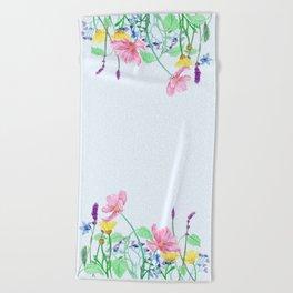 Floral Border - Summer Colours Beach Towel
