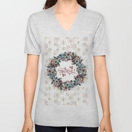 Elegant Believe Typography Christmas Wreath Gold Snowflakes Unisex V-Neck