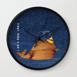 i am a happy whale Wall Clock