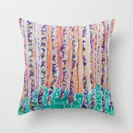 Autumn Aspens Watercolor Painting Throw Pillow