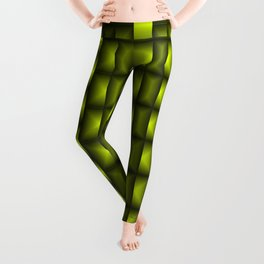 Fashionable large floral from small yellow intersecting squares in stripes dark cage. Leggings