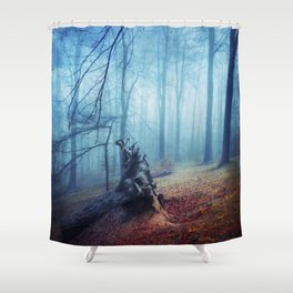 Silent Sadness - Fall Forest in Fog Shower Curtain