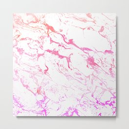 Modern pink purple watercolor white marble pattern Metal Print