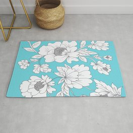 Floral in Turquoise Rug