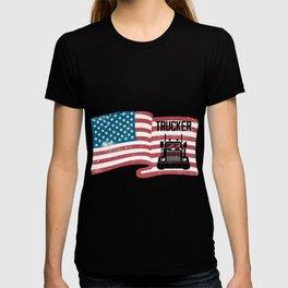 Proud Trucker American Flag 4th Of July USA Truck T-shirt