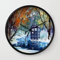 fandom Wall Clocks featuring Starry Winter blue phone box Digital Art iPhone 4 4s 5 5c 6, pillow case, mugs and tshirt by Three Second