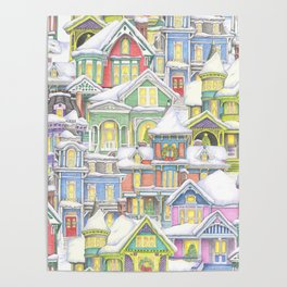 Victorian Snow Houses Poster