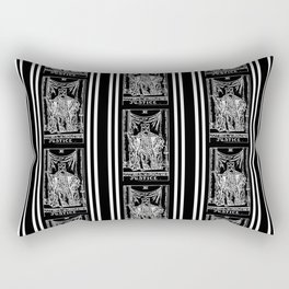 Black and White Tarot Print - Justice Rectangular Pillow