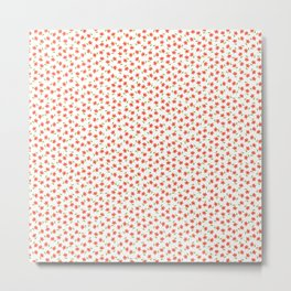 Ditsy Floral - Coral and Green on White Metal Print