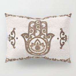 Hamsa Hand - Hand of Fatima  wooden texture Pillow Sham
