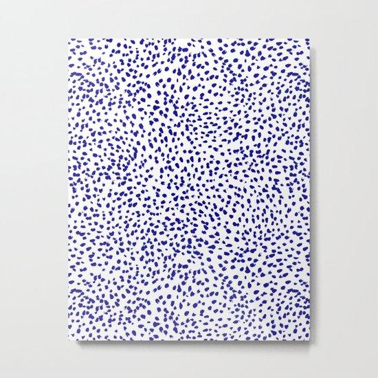 Vonnie - abstract minimal indigo blue dalmatian dots brushstrokes animal print monochromatic print Metal Print