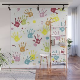 Kids painted hand prints pattern Wall Mural