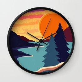 Sunset lake Wall Clock
