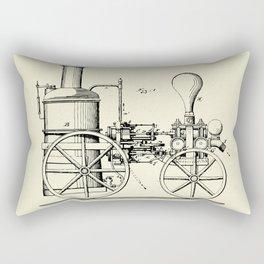 Firemans Steam Fire-Engine Patent Print - 1875 Rectangular Pillow