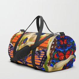 DECORATIVE WHITE CALLA LILIES & MONARCH BUTTERFLY GARDEN COLLAGE Duffle Bag
