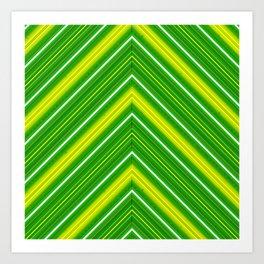 Modern Diagonal Chevron Stripes in Shades of Green and Yellow Art Print