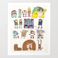 nintendo Art Prints featuring Nintendo Characters by Hamburger Hands