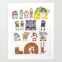 nintendo Art Prints featuring Nintendo Characters by Hamburger Hands