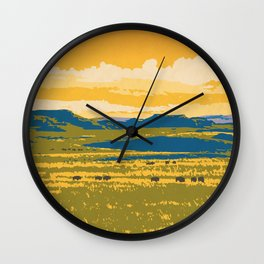 Grasslands National Park Poster Wall Clock