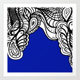 Navy Blue Doodle Art Print